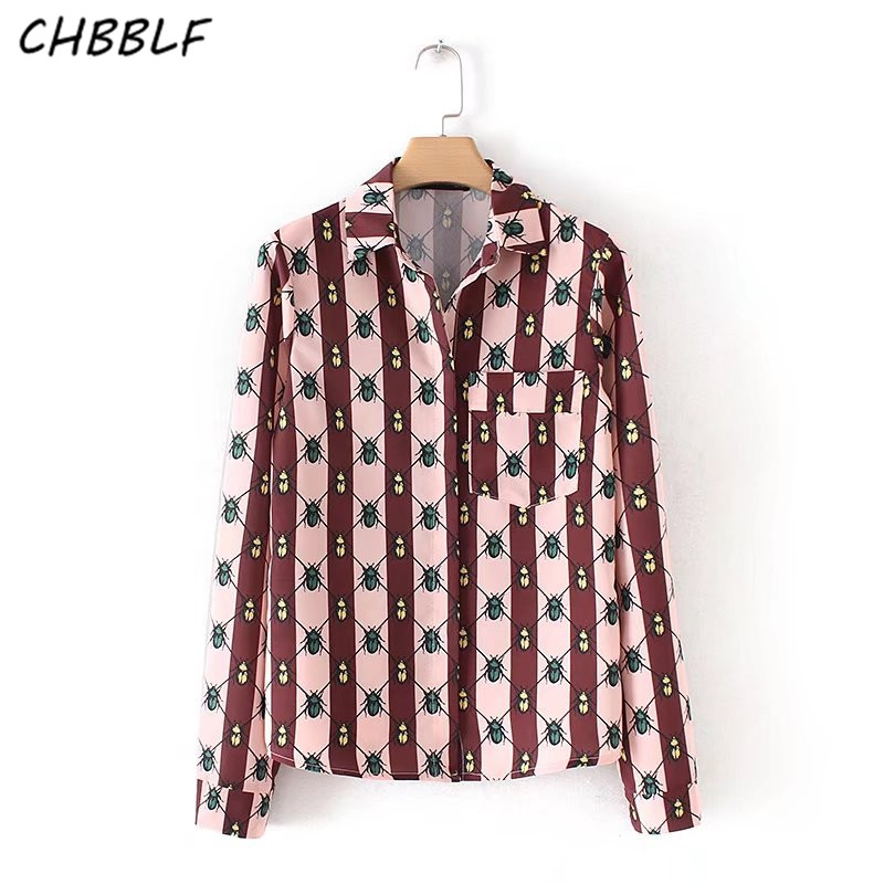 Women's Clothing Women Vintage Insects Pattern Blouse Pocket Long Sleeve Turn Down Collar Shirts Female Casual Tops Blusas Yhd8467 Beneficial To Essential Medulla