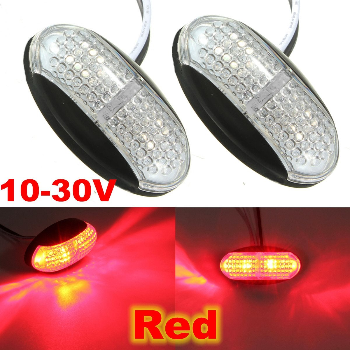 12v/24v LED Trailer Truck Clearance Side Marker Indicator Light Submersible With Lamp Clearance Lamp Car Styling 2pc led trailer truck clearance side marker light 12v 24v submersible width lamp clearance lamp car styling turck side light