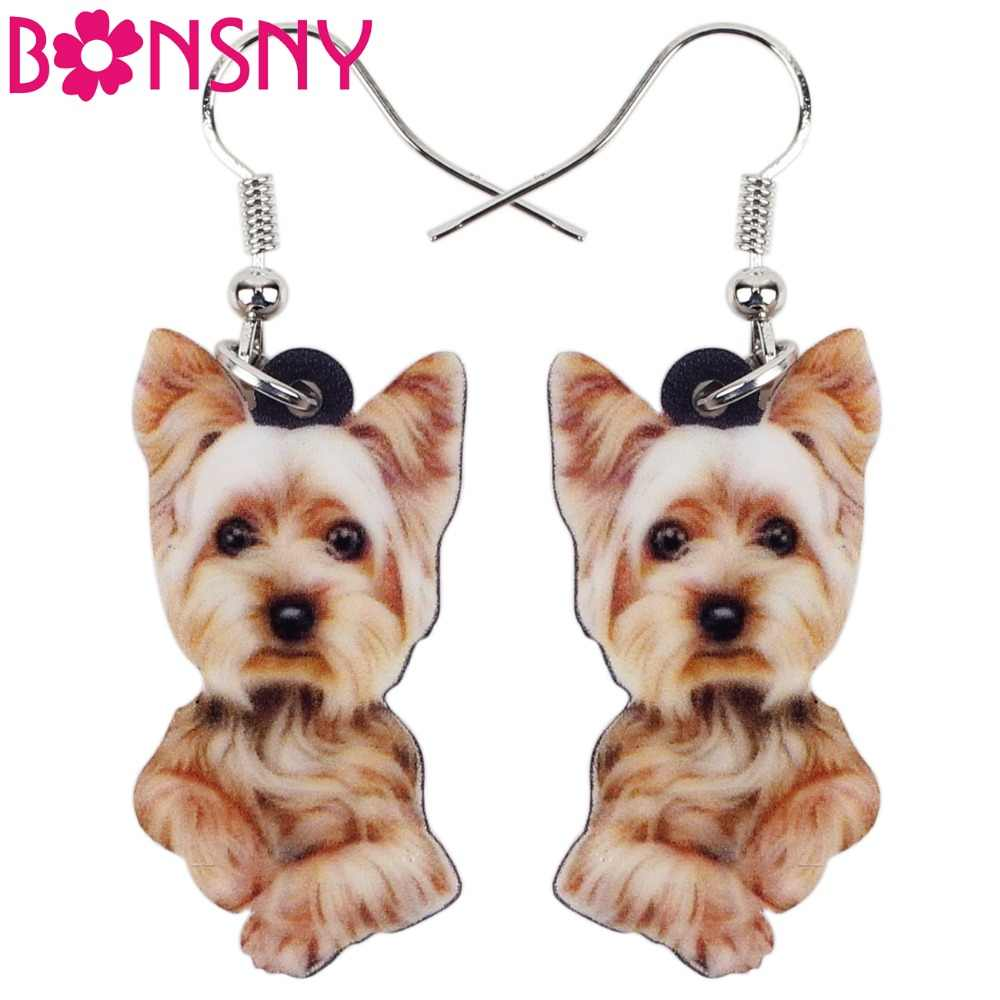 Bonsny Acrylic Cute Yorkshire Terrier Dog Big Long Dangle Drop Earrings  Novelty Animal Jewelry For Girls Women Ladies Wholesale
