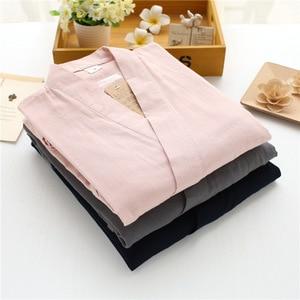 Image 3 - KISBINI Autunno Pigiama Imposta Per Le Donne Femminile Solido Vestiti A Casa il Vestito di Cotone Lungo Stile Giapponese Signore Homewear Primavera Pigiama
