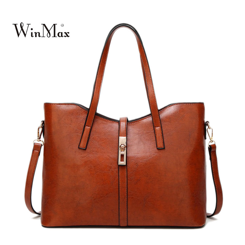 High Quality Women Leather Handbags Vintage Female Shoulder Bag Casual Tote Bags PU Leather Handbag Luxury Famous Designer Bags