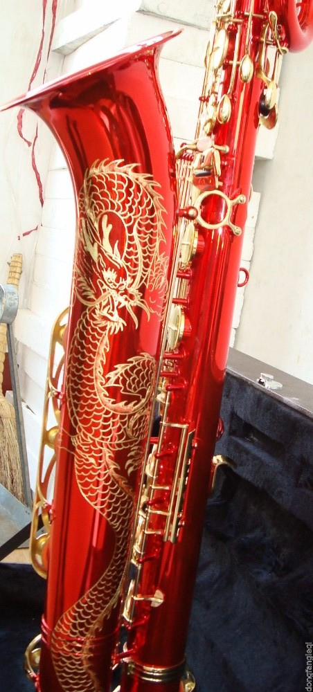 New Baritone Saxophone Unique Red Surface Beautifully Carved Chinese Dragon Pattern With Low A High F Key Can Customize Logo материнская плата для принтера canon mp259 mp258 mp288 mp236 ip2780