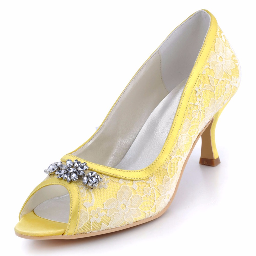 Woman Shoes Mid Heel Wedding  AJ55 Yellow Peep Toe Rhinestone Lace Comfortable Lady bride prom party bridal pumps beautiful fashion blue wedding shoes for woman rhinestone bridal dress shoes lady high heel luxurious party prom shoes