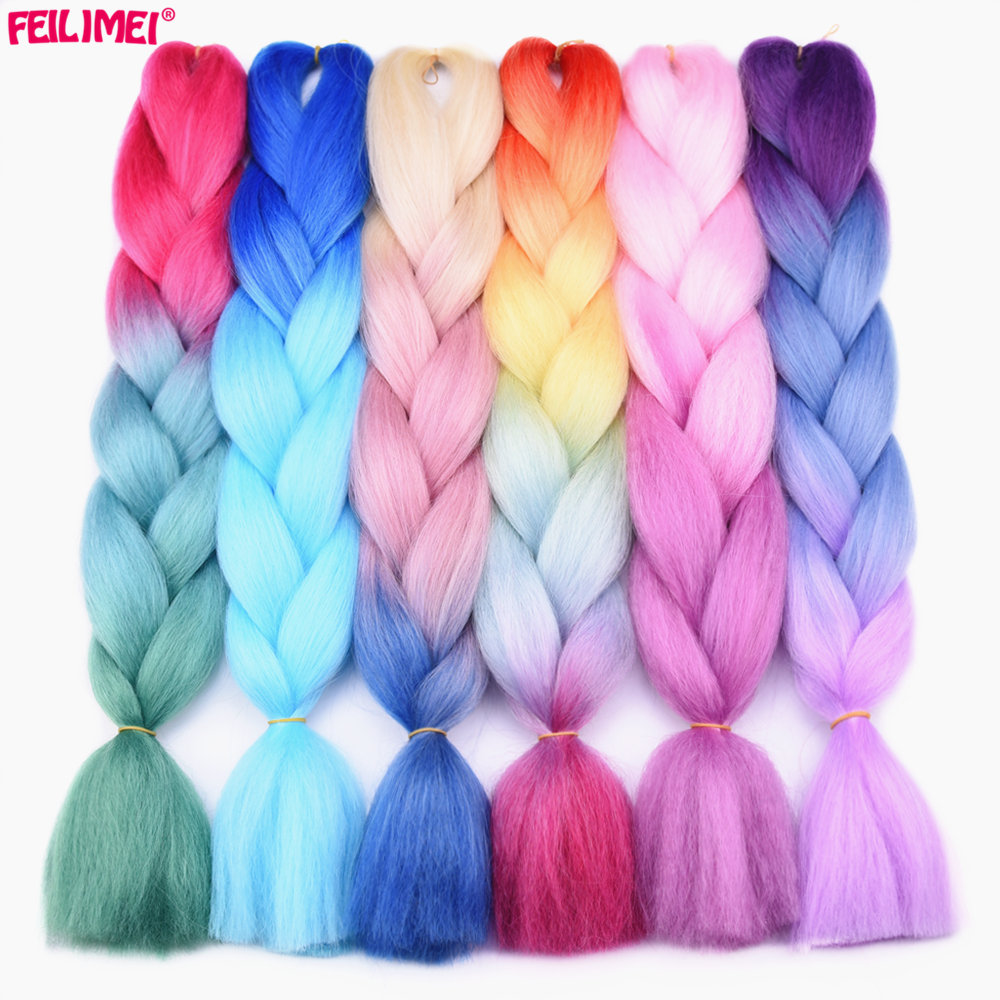 Feilimei Three Tone Colored Crochet Hair Extensions Synthetic Heat Resistant Crochet Braids Ombre Jumbo Braiding Hair Extensions