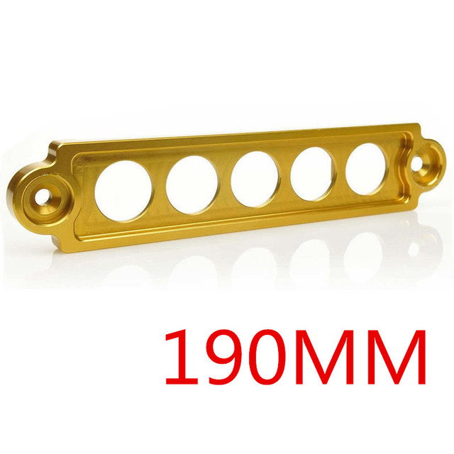 5 Holes 190MM Gold Color CHROME BILLET ALUMINUM BATTERY TIE DOWN BRACKET FOR Toyota BMW