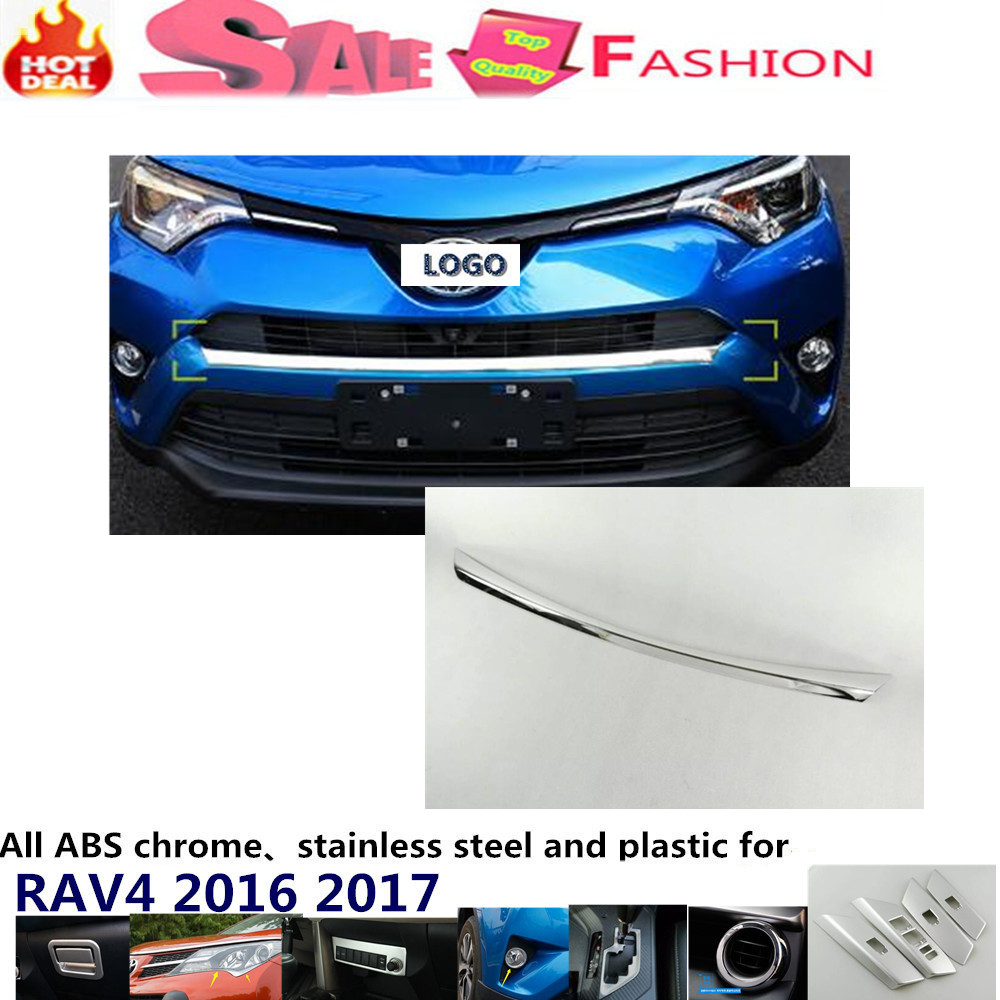car body cover ABS chrome Lamp trim head Front bottom Grid Grill Grille racing Strip frame 1pcs For T0Y0TA New RAV4 2016 2017  цены онлайн