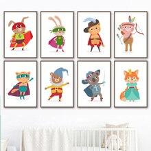 Коала Кролик Фокс Медведь Панда Супергерой Косплей Wall Art Холст Картины Северные Плакаты И