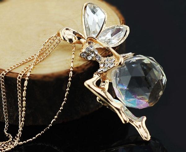 boll österrikisk kristall ängel fe vinge hängsmycke kedja kedja - Märkessmycken - Foto 3