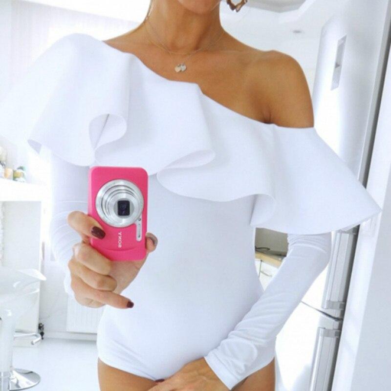 Sexy Bodysuit Ruffles Skinny Oblique Neckline One Piece Shorts Outfit Onepiece White Full Black Polyester Bodysuit Women 2017