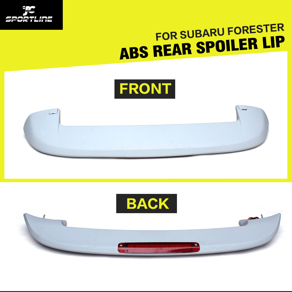 ФОТО ABS unpainted auto car rear trunk spoiler boot lip with LED light for Subaru Forester 2006-2007