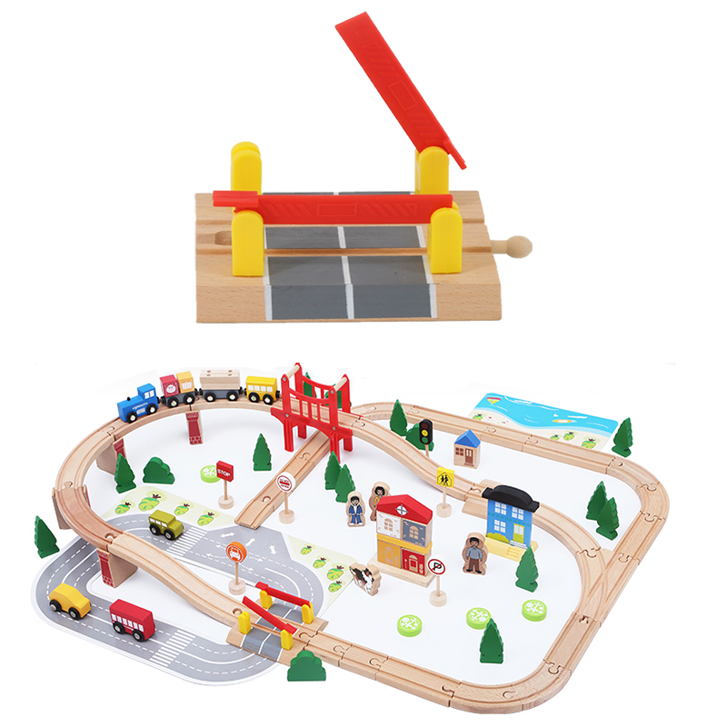 Parallel Bar Track Intersection Wooden Train Track Accessories Universal Wooden Track Barrier Educational DIY Toys For Children