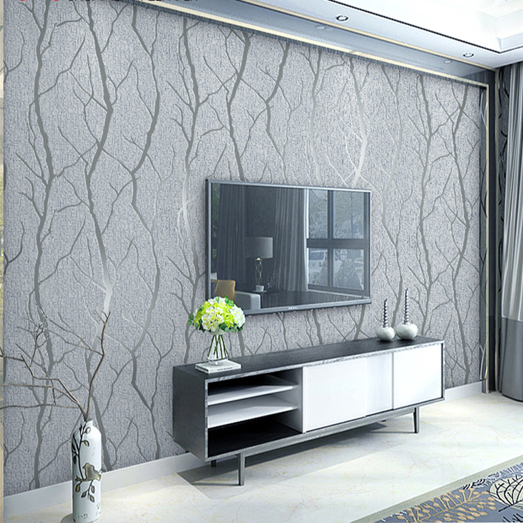 European 3D Embossed Grey Wallpaper Birch Tree Home Decor Forest Wall Paper For Living Room screening tree print blackout curtain for living room