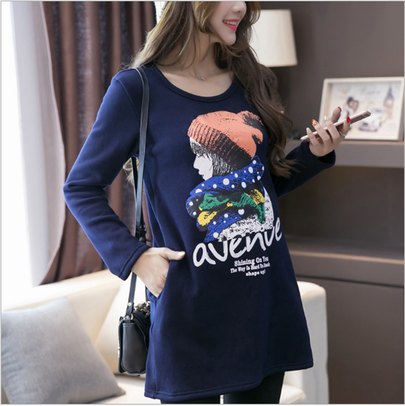 Autumn Winter Pregnant Maternity Tops Cotton Pregnancy Cartoon T Shirt Clothing Long Sleeve Velvet Clothes for Pregnant Women