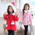 Девушки С Капюшоном Шерстяное Пальто Девочки Одежда для Зимней Моды Толстовка С Капюшоном Пальто Теплое Шерстяное Пальто, Дети Рождество Одежду