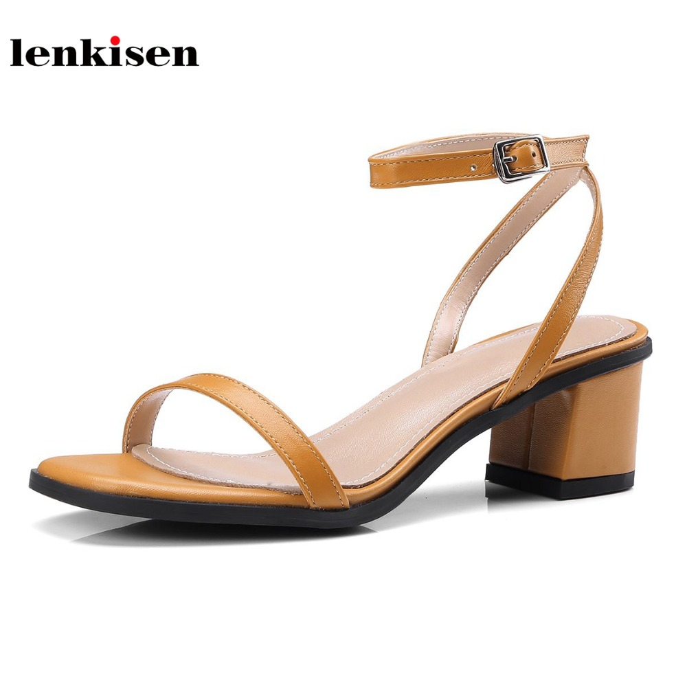 Lenkisen new genuine leather fashion causal simple classic style buckle straps women sandals peep toe gladiator summer shoes L62