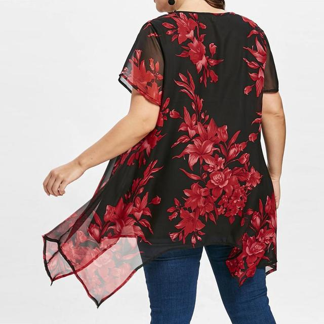 Plus Size 5XL 2018 Womens Tops and Blouses Chiffon Tunic Cross Floral Print Short Sleeve Long Shirts Loose Casual Women Clothes 3