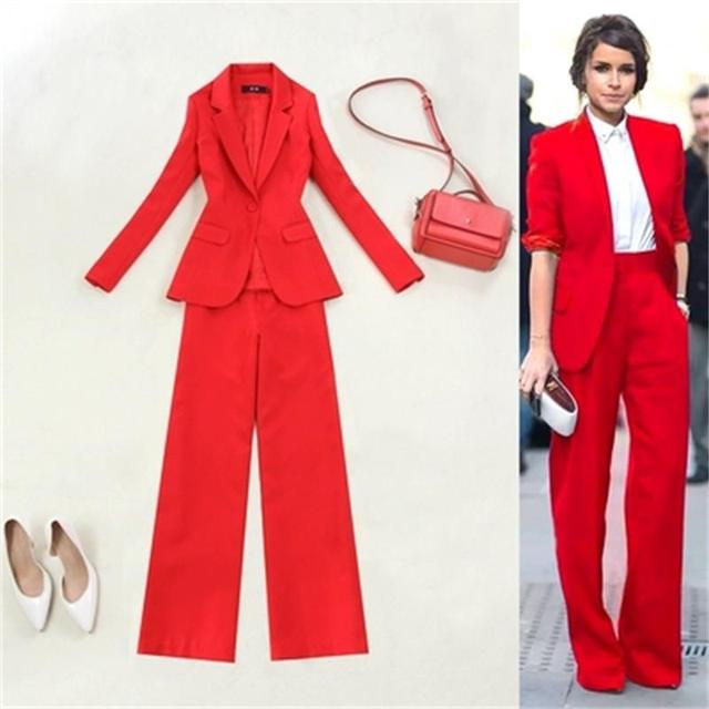Fashion red suit femme plus size 19 spring and summer New casual big red Slim one button suit + wide leg pants OL suit women