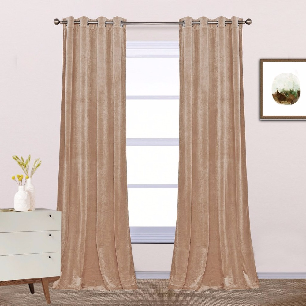 Modern grommet top curtains - Nicetown Classic Velvet Textured Woven Home Theater Grommet Top Blackout Curtains One Pair W52xl84 96 Inch Ruby Red