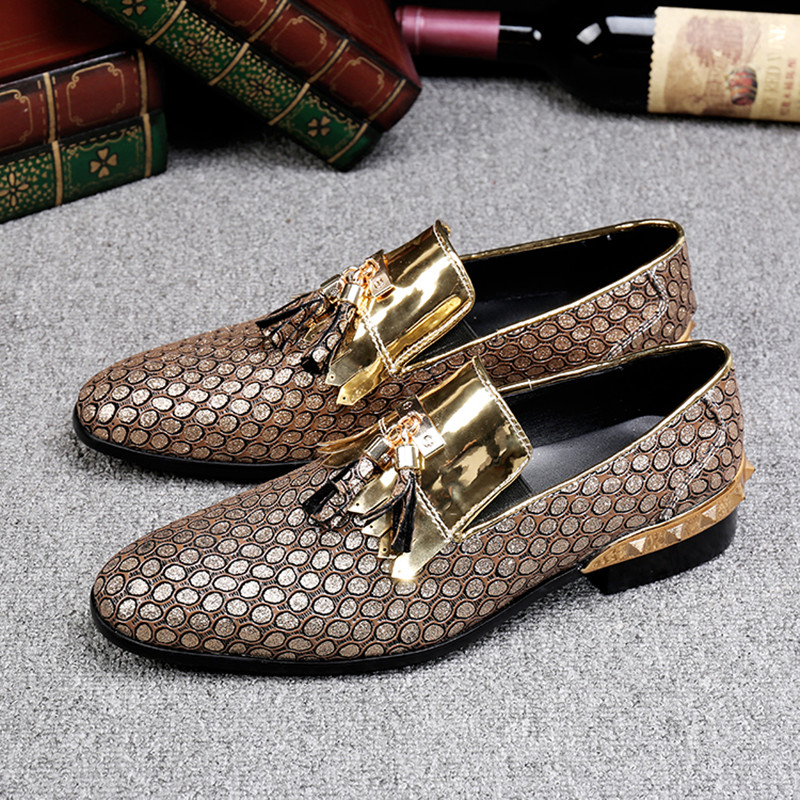 Christia Bella British Handmade Tassel Men Leather Loafers Gold Silver Rivet Party Dress Shoes Men Slip On Casual Shoes Big Size