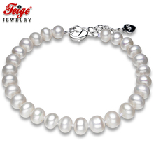 Genuine Freshwater Pearl Strand Bracelet for Women 6.5-7.5mm White Natural Bracelets Fine Jewelry