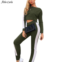 Women Sexy Slash neck Tracksuit Patchwork Stripe Cropped Outfits Crop Top Set Two Piece Set Top And Pants Casual Suit Fitness