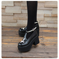 Black and White Gothic Cross Design Punk Lolita Shoes Thick Heel Platform Spring/Autumn Girls Shoes