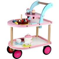 Здоровый Деревянный игрушка Моделирование детское мороженое обеденный автомобиль Детский чайный игровой набор богатый десерт виды пищево