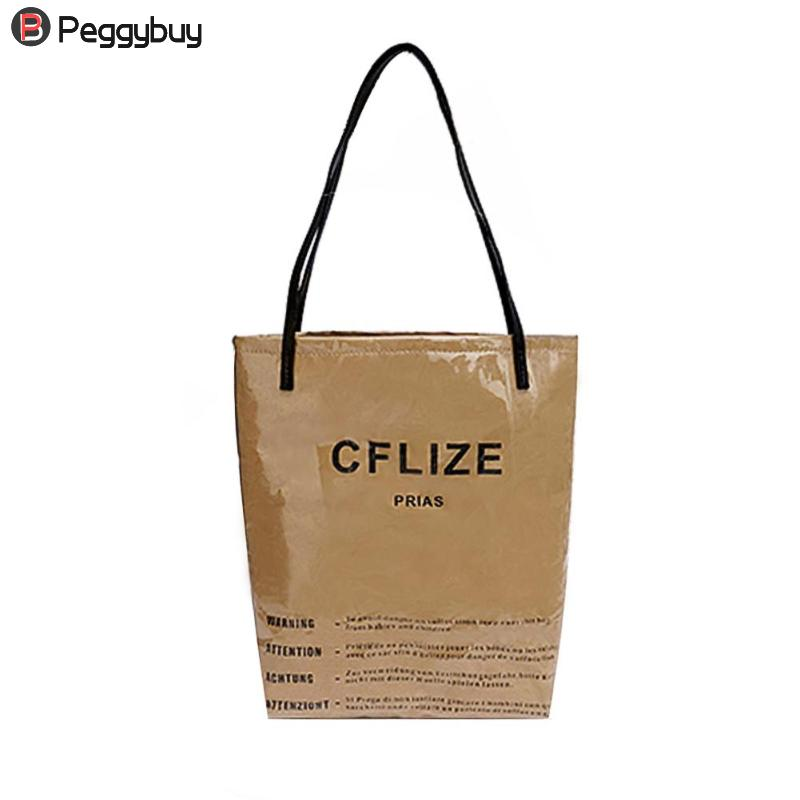 Brand PVC Women Shoulder Bag Casual Girls Waterproof Kraft High-Capacity Shopping Totes Fashion Design Ladies Handbags