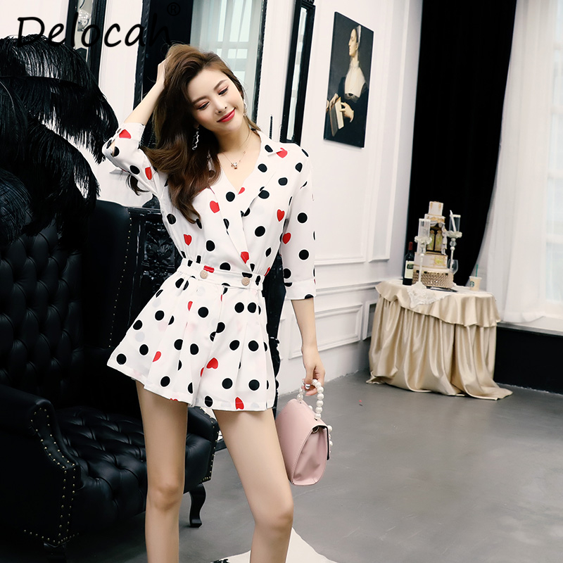 Delocah New Women Summer Bodysuits Runway Fashion Sexy V Neck Dot Printed Collect Waist Elegant Casual