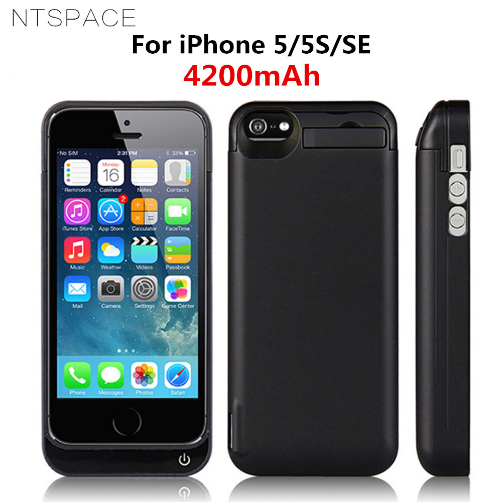 NTSPACE 4200mAh Portable Power Bank <font><b>Case</b></font> For <font><b>iPhone</b></font> 5 External <font><b>Battery</b></font> Power Pack Charger Cover For <font><b>iPhone</b></font> <font><b>5S</b></font> SE <font><b>Battery</b></font> <font><b>Case</b></font> image