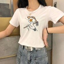 Kawaii Cartoon Duck Femme T Shirt Summer New Animal Print Female T-shirt Round Neck Casual