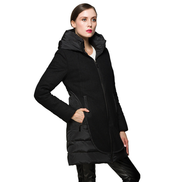 Cheap Long Solid Hooded Zipper Slim Coat Pockets Black Winter Jacket Women Parkas Snow Warm Female Clothing 2016 New Arrival Plus Size