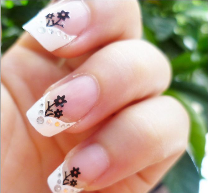 3D Nail Art Stickers Decal White French Tips Manicure Black Flower ...