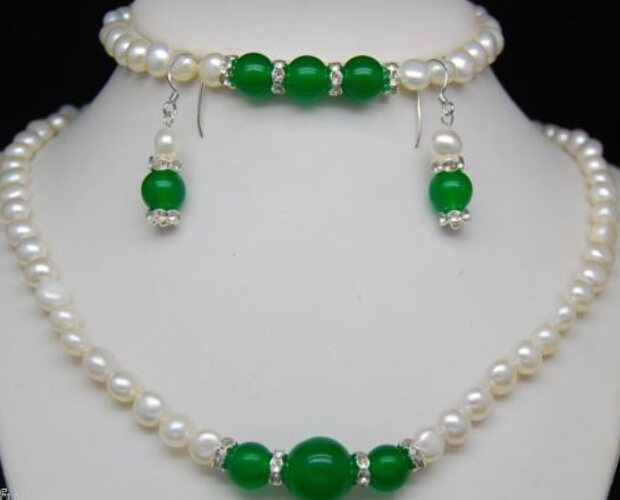 Free Shipping $wholesale_jewelry_wig$ Natural 7-8mm White Pearl & Green Beads Necklace Bracelet Earring Set Easy To Use