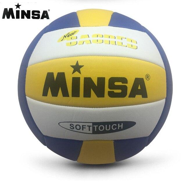 MINSA venta al por menor 2019 nueva marca MVB-001 pelota de voleibol táctil suave, size5 de alta calidad de voleibol libre con bolsa de Red + aguja