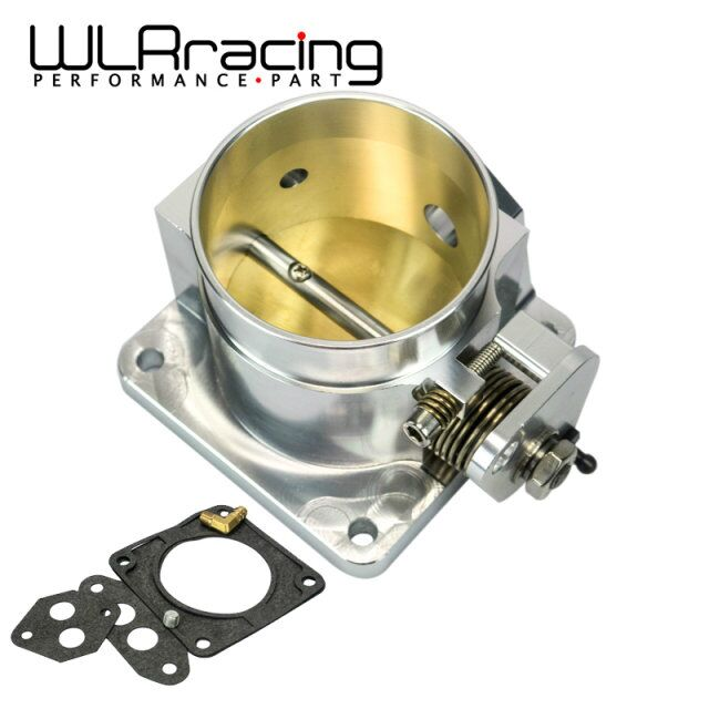 WLR RACING BILLET CNC 75MM THROTTLE BODY FOR 86 93 FORD MUSTANG GT COBRA LX 5.0 (SILVER AND BLACK) WLR6958S