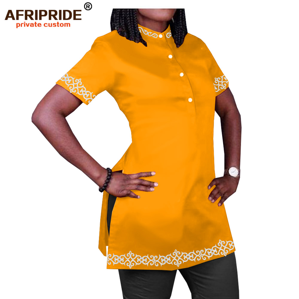 Spring African Casual Shirts For Women AFRIPRIDE Tailor Made Short Sleeves O-neck Side Split Women Polyester Shirt A1922003