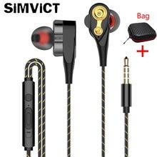 Наушники-вкладыши SIMVICT, двойные динамические наушники с микрофоном, шумоподавление басов, регулятор громкости, наушники для телефонов
