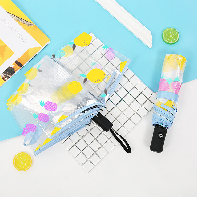 100c46236bba1 Yuding Fully-Automatic Fishing Umbrellas For Women Transparent Lemon  Printing Umbrella Korean Style Woman's Gifts Umbrella