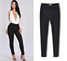 Горячих женщин сплошной цвет высокой талии стрейч джинсы женские мода карманы cowboy брюки личности дикие Джинсы большие ярдов