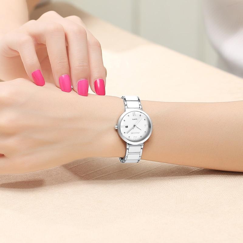 Бренд BUREI, женские часы, водонепроницаемые, модный керамический браслет, кварцевые наручные часы, женские, черные, золотые, белые, Relogio Feminino - 6