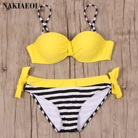 NAKIAEOI 2017 Sexy Bikinis Push Up Swimwear Women Swimsuit Bandeau Beach Bathing Suits Brazilian Plus Size