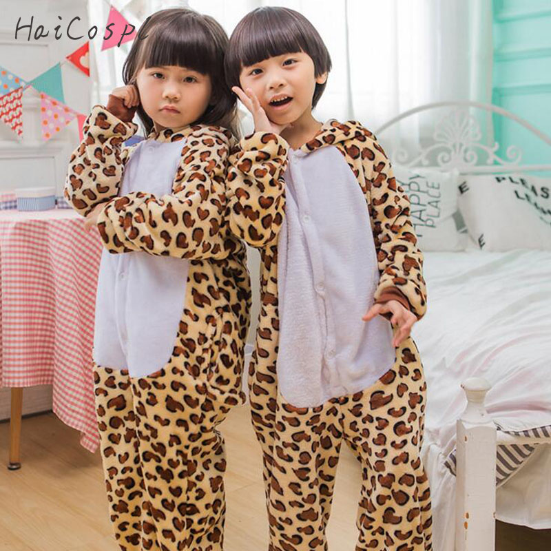 Leopard Onesie For Children Animals Cosplay Costume Pajama Set Flannel Kigurumi Warm Hooded Suit Boys Girls Lovely Party Fancy