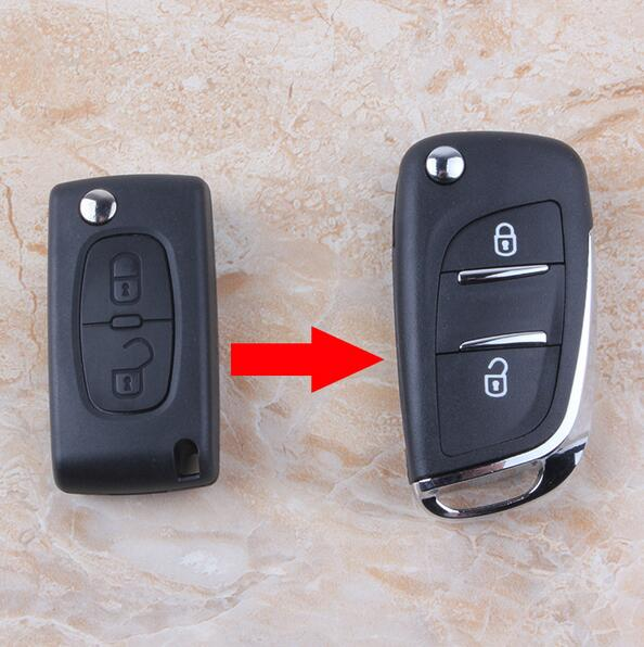 2 Button Replacement Modified Flip Folding Remote Key Shell Case For Peugeot 307 308 408 With HU83 Groove Blade CE0536 2 button flip remote key fob case shell blade keychain for peugeot 207 307 308