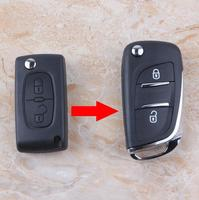 2 Button Replacement Modified Flip Folding Remote Key Shell Case For Peugeot 307 308 408 With HU83 Groove Blade CE0536