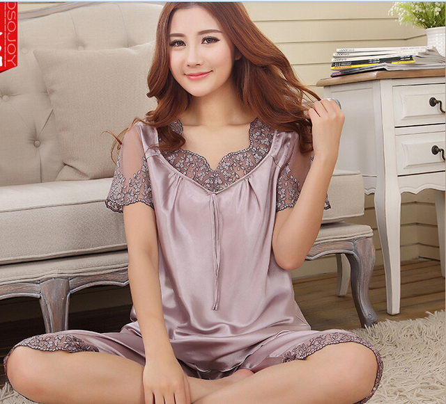 5fd5203c7aee Women imitated silk lace v neck short sleeves pajamas set nightgown ...