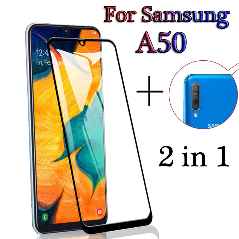 2-in-1 Full Cover Front Glass Rear Camera Film For Samsung Galaxy A50 A505F Screen Protector For Galaxy A50 A 50 Protective Film
