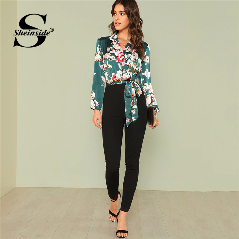 Sheinside Knot Floral Wrap   Jumpsuit   2018 Summer Short Sleeve V neck   Jumpsuit   Women Multicolor Mid Waist Casual   Jumpsuit