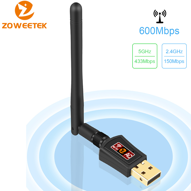 Zoweetek Mini USB WiFi Adapter 5G 433Mbps 2.4G 150Mbps 802.11AC Wireless Antenna Dual Band LAN Ethernet Receiver for PC Phones