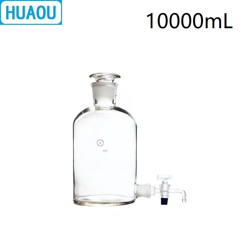 HUAOU 10000mL Aspirator Bottle 10L Transparent Clear with Ground - In Glass Stopper and Stopcock Distilled Water Wine Liquor цена 2017